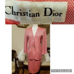 2pc Christian  Dior Red & Cream Skirt Suit Outfit